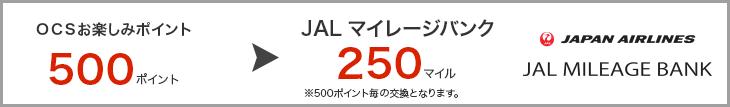 JMBのポイント交換単位:500>250