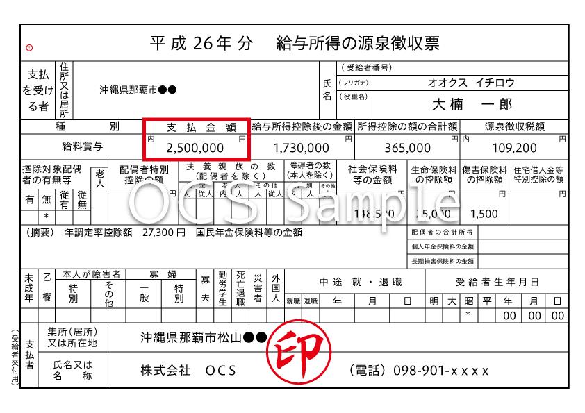 例)給与所得の源泉徴収票