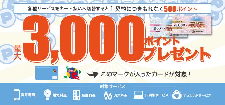 【最大3000ポイント】各種料金をカード払い切替&各サービスのご登録で!